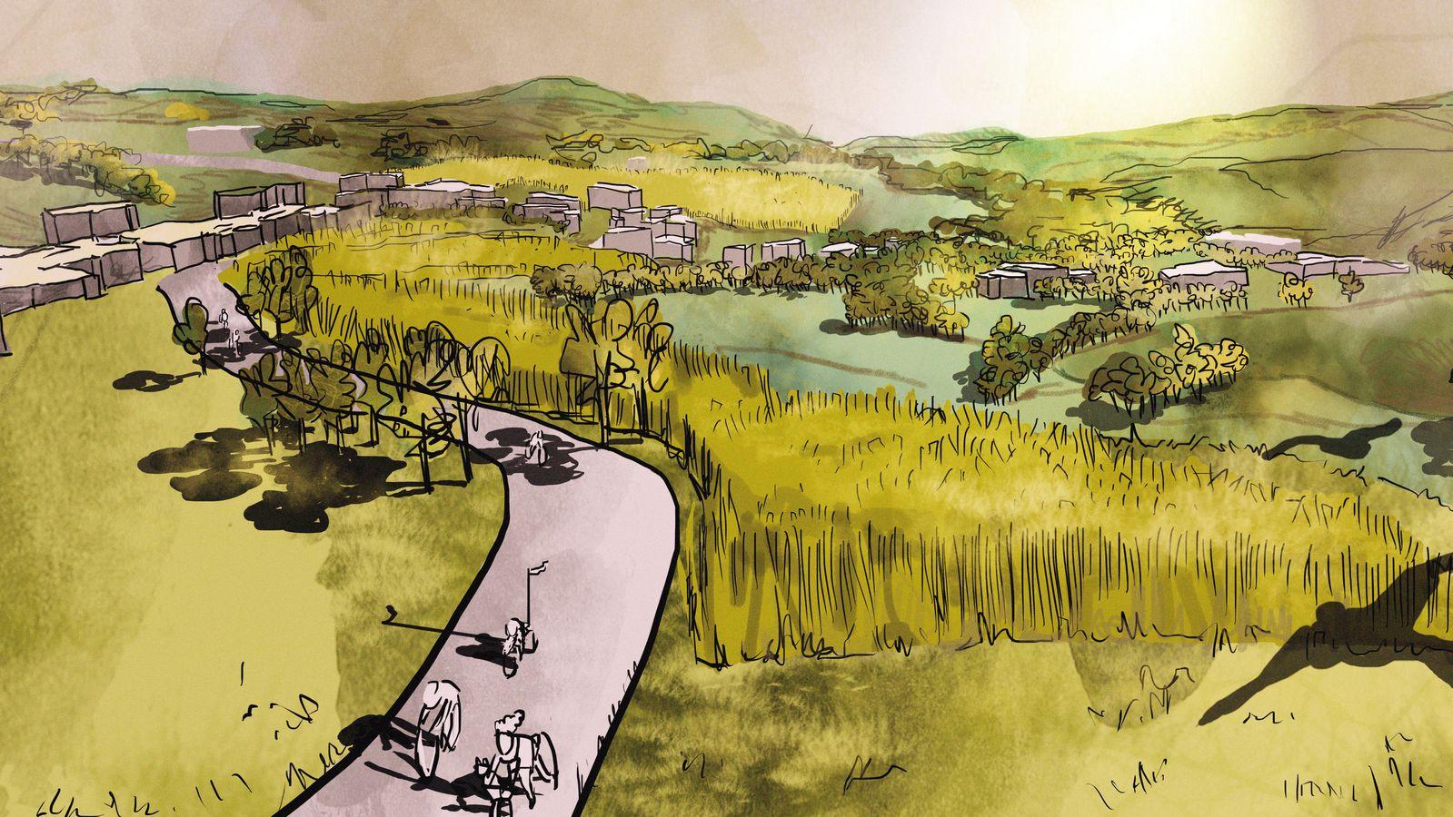 Gezeichnete Landschaft mit Agrarflächen