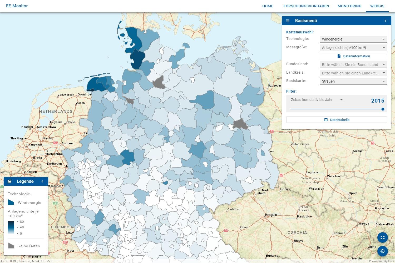 Screenshot des Web-GIS EE Monitors