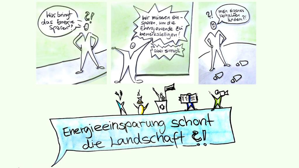 Ein Comic zum Thema Energiesparen schont die Landschaft